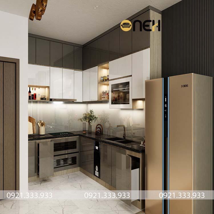Tủ bếp chữ L sát trần nhà như tủ bếp âm tường mang đến không gian cất trữ rộng