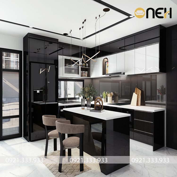 Tủ bếp hiện đại bề mặt phủ Acrylic đen bóng gương kết hợp trắng tạo điểm nhấn riêng