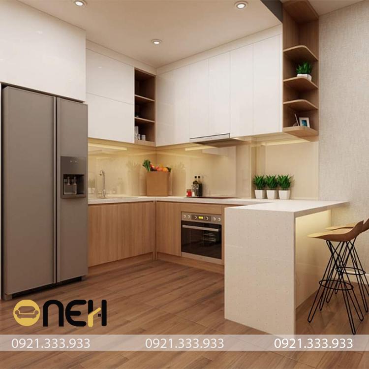 Tổng thể căn bếp nhỏ xinh không gian được tính toán phân chia kỹ lưỡng hài hòa với tổng thể