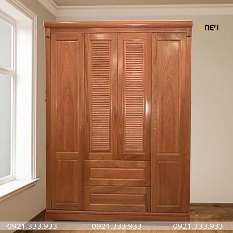 Tủ áo gỗ tự nhiên có thiết kế cổ điển
