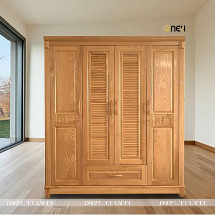 Tủ quần áo gỗ tự nhiên có màu gỗ sáng và các đường vân gỗ là điểm nhấn
