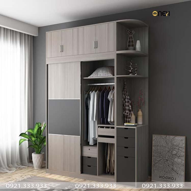 Tủ quần áo cửa lùa kết hợp kệ trang trí đẹp mắt
