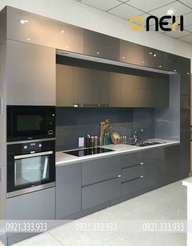 Tủ bếp chữ I chất liệu MDF thiết kế tối giản, tiện ích tối ưu hóa diện tích