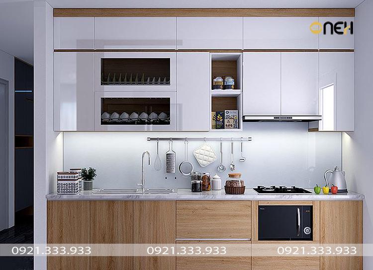 Tủ bếp chữ I đụng tần, được thiết kế theo phong, kiểu dáng tủ bếp gọn gàng