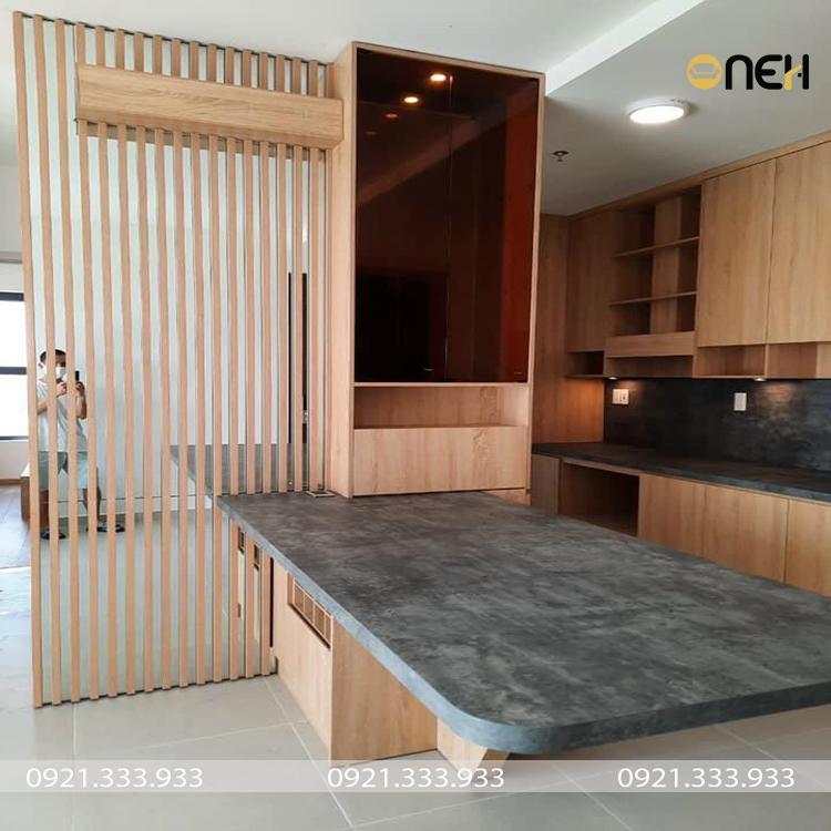 Tủ bếp được làm bằng gỗ MDF melamine an cường chất lượng