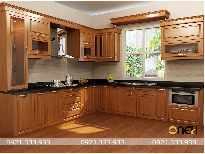 Tủ bếp gỗ dồi với hệ vân gỗ đẹp mắt, sang trọng