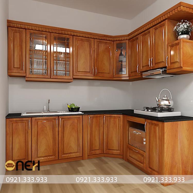 Kết cấu tủ bếp gỗ dổi chắc chắn, chịu lực tốt