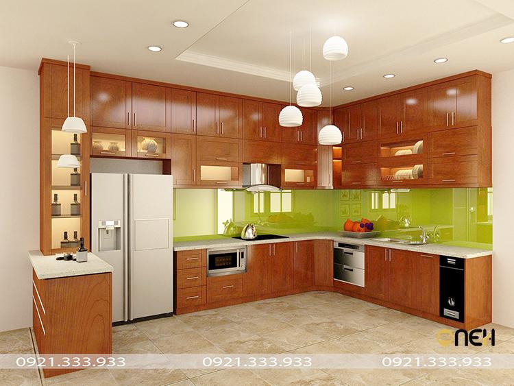 Tủ bếp gỗ giáng hương mang đến không gian bếp sang trọng