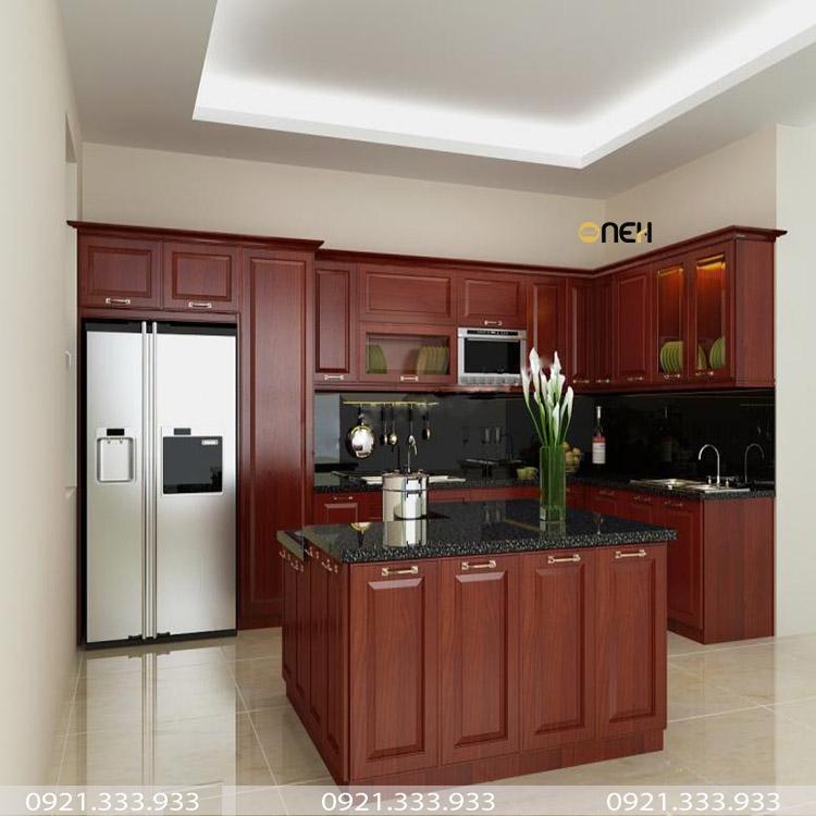 Tủ bếp gỗ hương đỏ hiện đại - sang trọng
