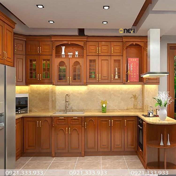Tủ bếp gỗ hương có màu gỗ đẹp và mùi hương dễ chịu