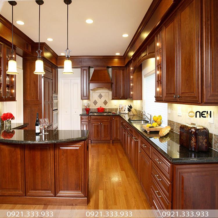 Tủ bếp gỗ hương thể hiện sự đẳng cấp và sang trọng