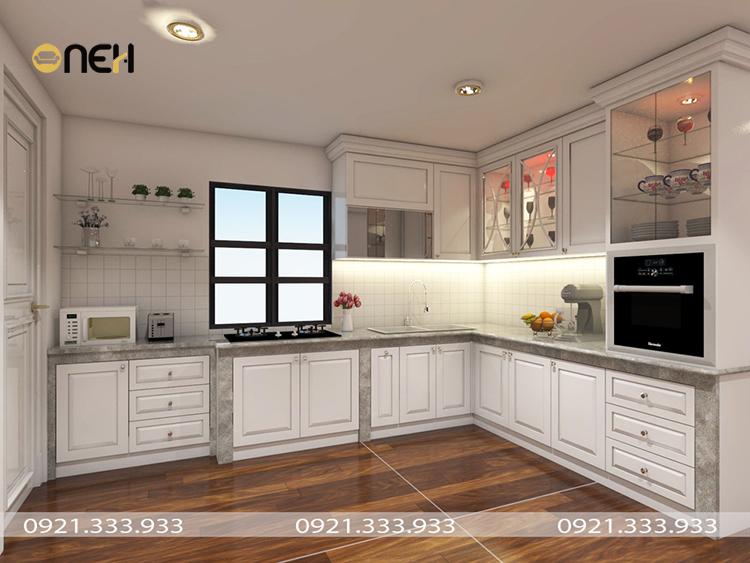 Tủ bếp thiết kế phối hợp chất liệu mang đến vẻ đẹp độc đáo riêng