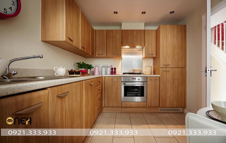 Thiết kế tủ bếp màu sắc vân gỗ ấm áp chủ đạo
