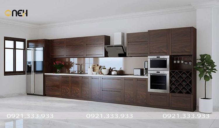 Tủ bếp gỗ chữ I thiết kế tiện ích, các vật dụng phụ kiện tủ bếp được thiết kế âm tủ
