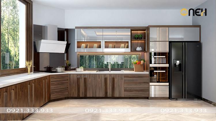 Kết cấu tủ bếp gỗ óc chó chắc chắn, chịu lực tốt độ bền cao
