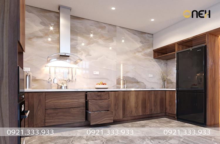 Tủ bếp gỗ óc chó chữ U mang đến không gian phòng bếp tiện nghi với nhiều ngăn đựng