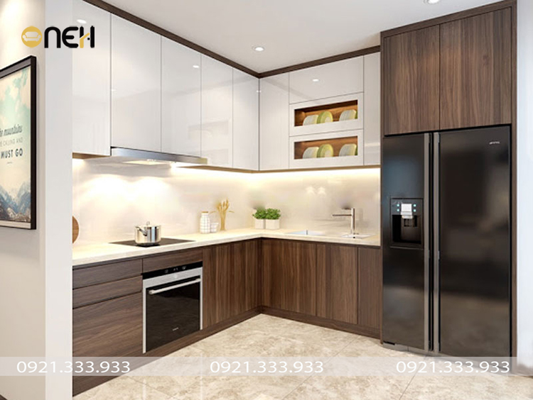 Tủ bếp hiện đại gỗ óc chó thiết kế nhỏ gọn phù hợp không gian nhiều gia đình