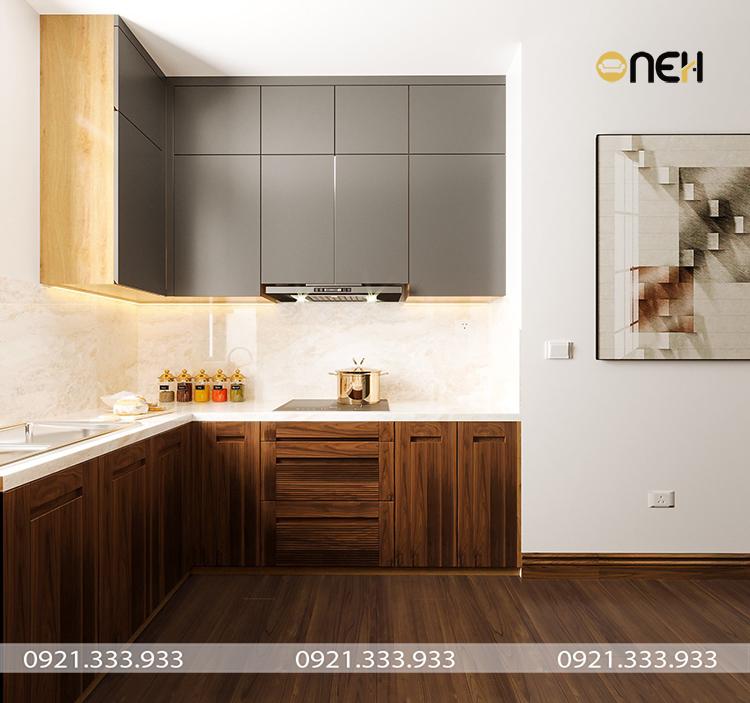 Tủ bếp hình chữ L thiết kế nhỏ gọn, tận dụng được góc chết, tạo không gian hài hòa tinh tế