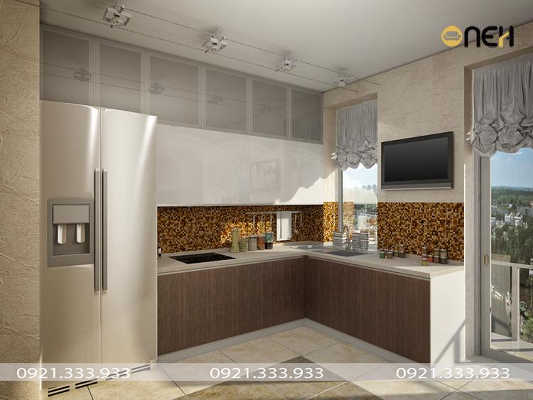Thiết kế tủ bếp gỗ đảm bảo sự cân đối giữa diện tích phòng bếp với chiều dài và độ cao của tủ