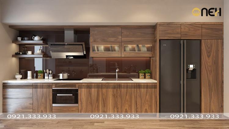 Tủ bếp gỗ óc chó cao cấp sở hữu yếu tố sang trọng, tinh tế tính thẩm mỹ cao