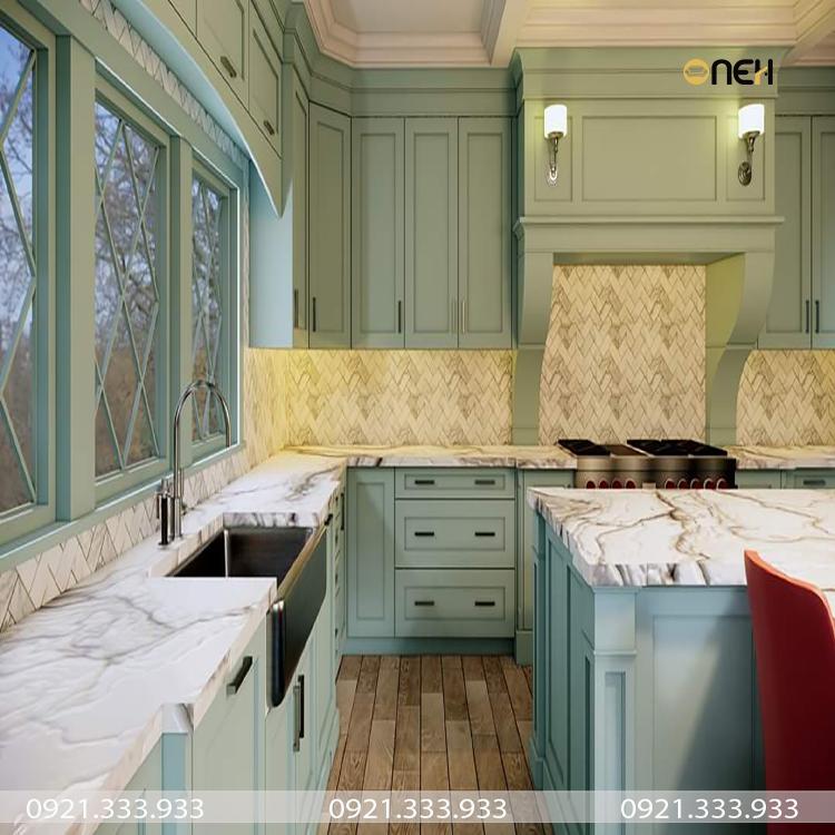 Tủ bếp gỗ sồi Nga màu xanh ngọc được thiết kế theo phong cách phương tây