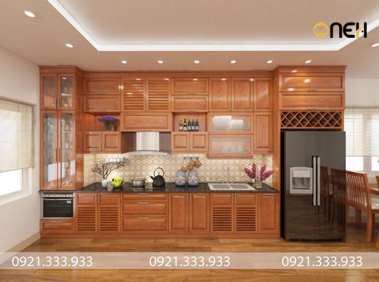 Kết cấu tủ bếp gỗ xoan đào chữ I tập trung tối đa công năng