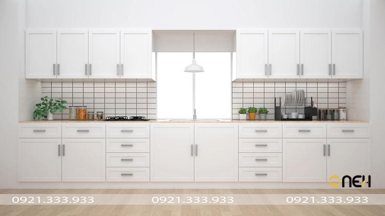 Tủ bếp phong cách Scandinavian thiết kế chữ I hiện đai với đường nét đơn giản