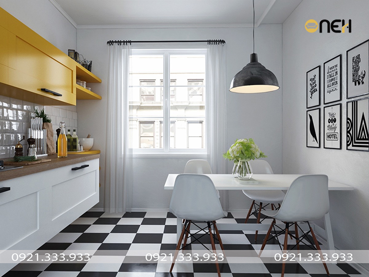 Thiết kế tủ bếp với gam màu sáng vàng nhạt kết hợp trắng vầ vân gỗthanh nhã
