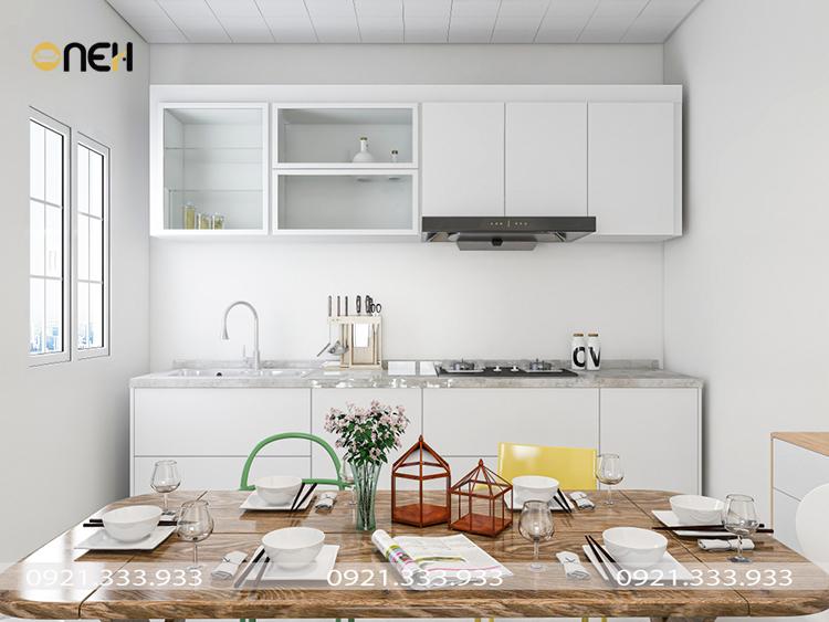 Tủ bếp gỗ Bắc Âu thiết kế gam trắng, đường nét đươn giản giúp không gian rộng rãi hơn