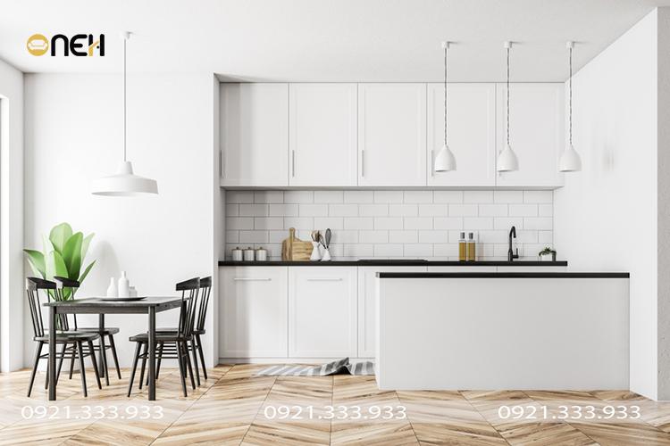 Tủ bếp phong cách Bắc Âu chữ I thiết kế kịch trần, mẫu tủ bếp giúp tối ưu hóa không gian lưu trữ