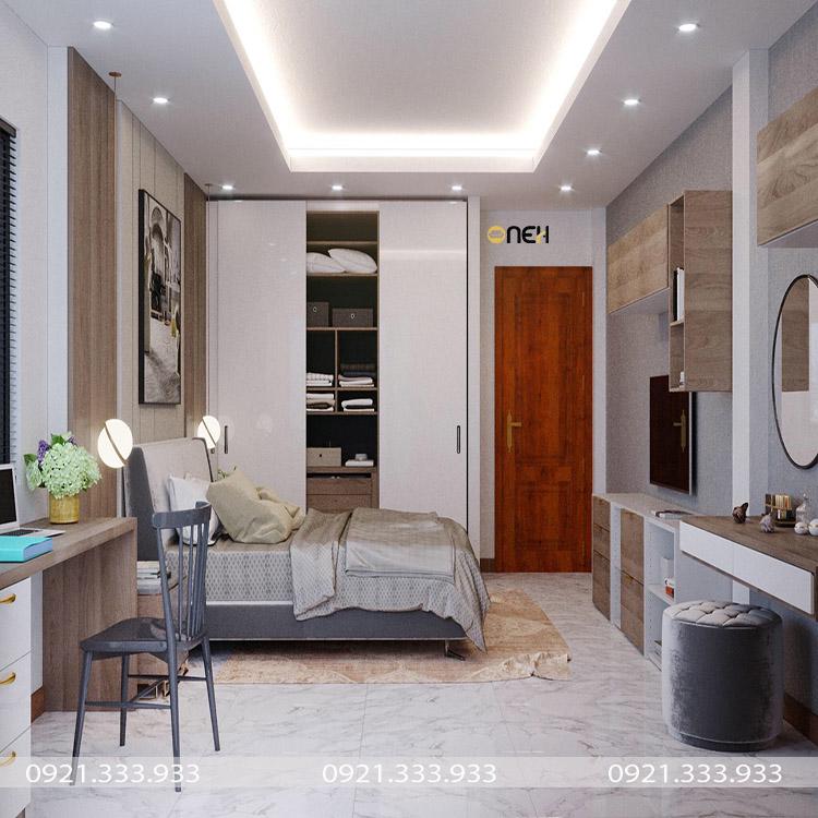 Tủ quần áo có thiết kế âm tường giúp tiết kiệm không gian phòng ngủ