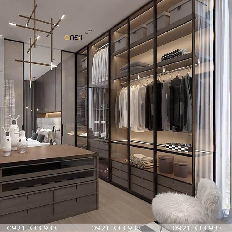 Tủ quần áo cửa kính trong suốt vừa sang trọng vừa hiện đại