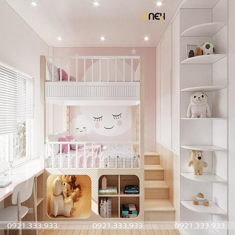 Tủ quần áo trẻ em kết hợp với giường ngủ được trang trí nhiều họa tiết đẹp mắt