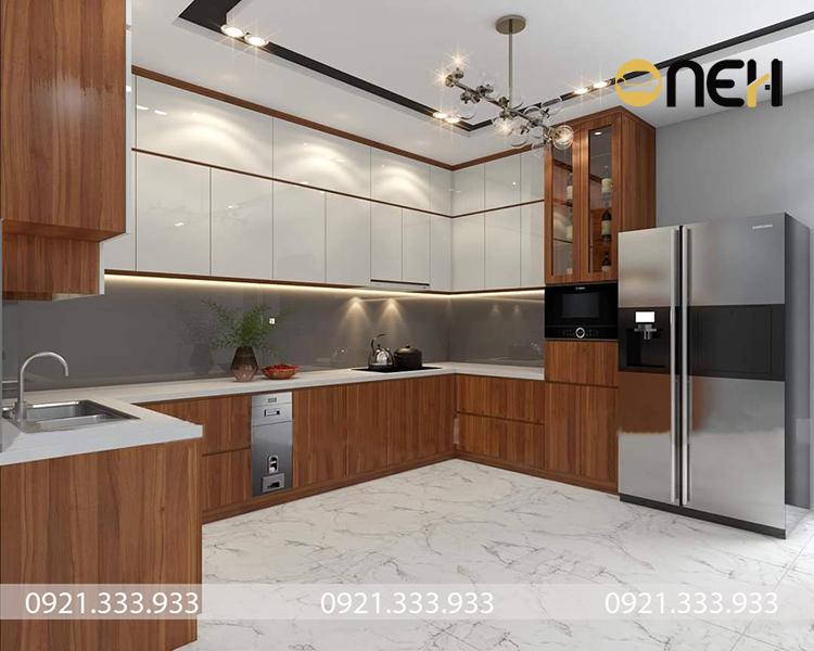 Tủ bếp cao cấp màu trắng phủ acrylic mang tính thẩm mỹ cao